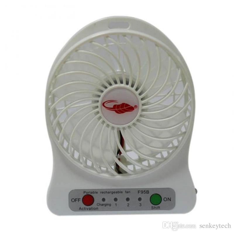 100% Testé Rechargeable LED Lumière Ventilateur Refroidisseur D'air Mini Bureau USB 18650 Batterie Ventilateur Rechargeable Avec Paquet Au Détail pour PC Ordinateur Portable