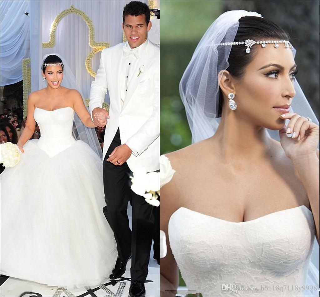 Simple sexy sweetheart neckline long wedding dress kim kardashian see larger image ombrellifo Image collections