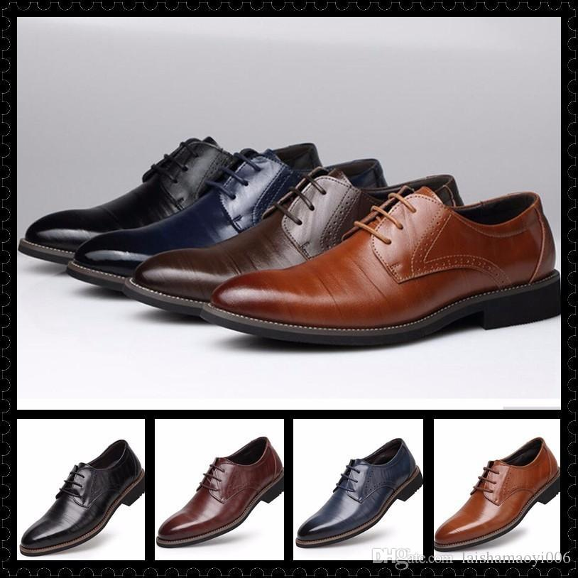 0c41eafa65a948 2017 Hot Men'S Fashion Dress Shoes Men Party Wedding Business PU Leather  Flats Side Lace Up Casual Pointed Shoes Size EUR 38 48 Formal Shoes For Men  Formal ...