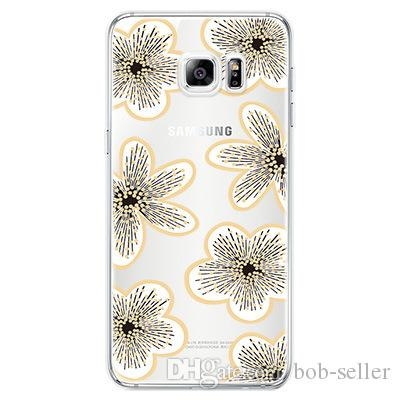 For Apple iphone 7 plus 6S Flower Back Cover Soft ultra thin Plating TPU clear patterns cases for samsung S7 S8 edge S6