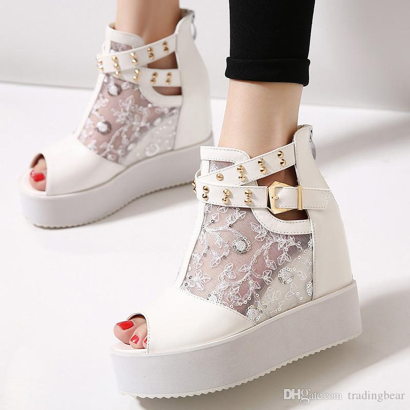 bece169f0ebab2 Trendy Rivets Buckle White Lace Wedges Sandals Women Wedding Shoes ...