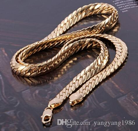 Güzel Sarı Altın Takı Ağır 84g Muhteşem erkek 14 K Sarı Katı Altın Yılan Derisi Kolye Zinciri 23.6