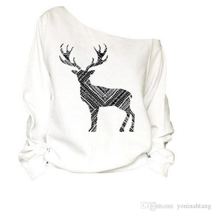 Navidad Ciervos Mujeres Moda Saxy Loose Pullover Off One Shoulder Sudadera Deer Print White Pullovers Top