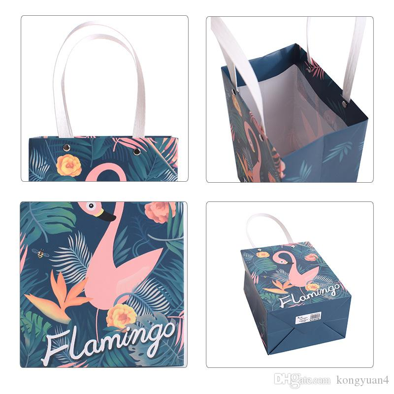 Lovely Cartoon Flamingo handbag Shopping Bag Storage Bags paper Candy box Gift Bags Wedding party birthday Decoration Supplies