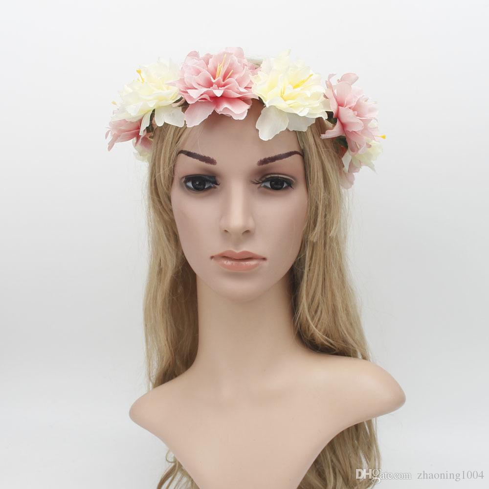 2018 beautiful wedding flower tiaras bridal hair wreath flower crown 2018 beautiful wedding flower tiaras bridal hair wreath flower crown headband boho head pieces prom fascinator hats for bridesmaid accessories from izmirmasajfo Images