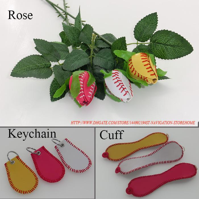 softball baseball rose+softball baseball keychain+softball baseball cuff