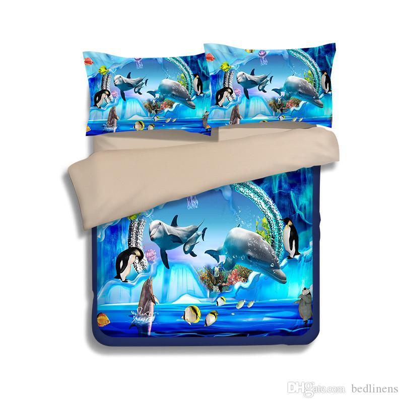 Nuovo Underwater World Dolphin Printing Set di biancheria da letto Twin Full Queen King Size Copripiumino Cuscino Shams Consolatore Mermaid Penguin Fish Animal