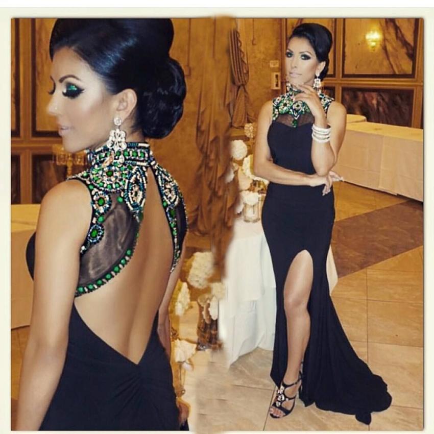 Vintage Sexy Black Split Avondjurken 2016 Hoge Neck Beaded Backless Arabische Prom Gowns Lange Celebrity Red Carpet Jurken Avondslijtage