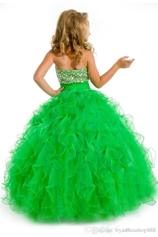 Halter long ball gown with heavily beaded torso and ruffled skirt flower girl dresses girl pageant Party Time Perfect Angels
