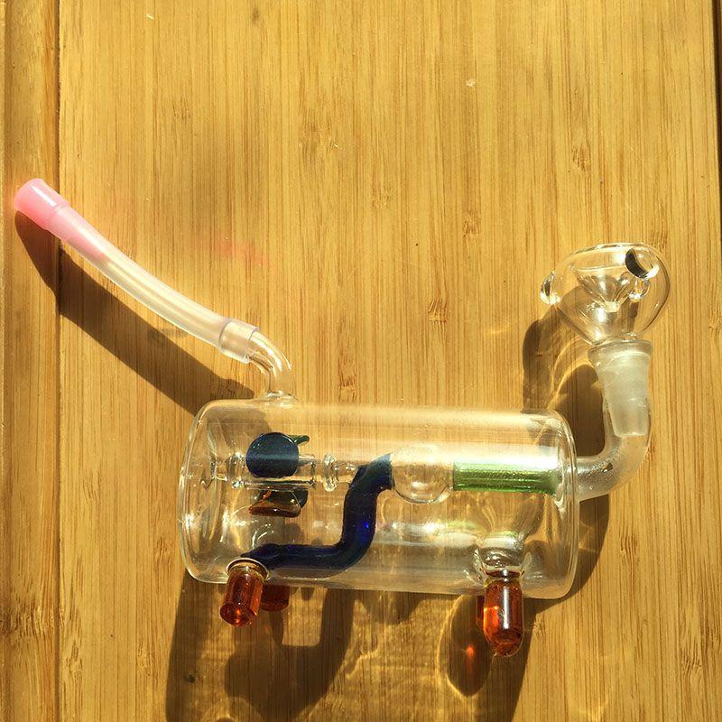 No.015 MINI glass Bong Inline Perc Glass Water Pipe Honeycomb Bong 10mm Ash CatchersBong Vortex Honeycomb Shiny Oil Rigs Water Smoking Pipes