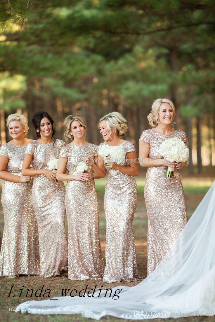 Gold Sequins Bridesmaid Dresses New Long Cowl Back Maid of Honor Dress Wedding Party Gown