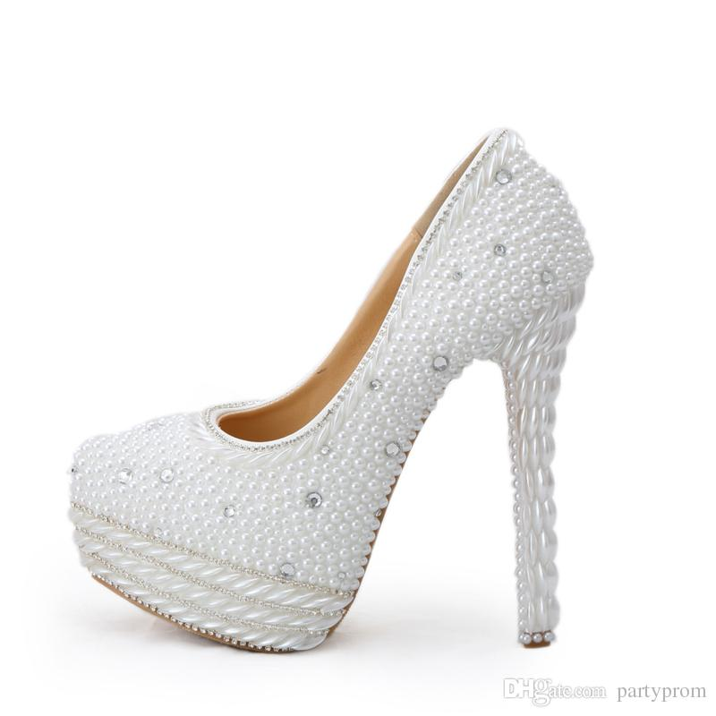 98724c3e1 White Pearl High Heels For Wedding Round Toe Handmade Bridal Dress Shoes  Women Party Prom Shoes Gorgeous Event Platform Pumps Pink Heels Pink Shoes  From ...