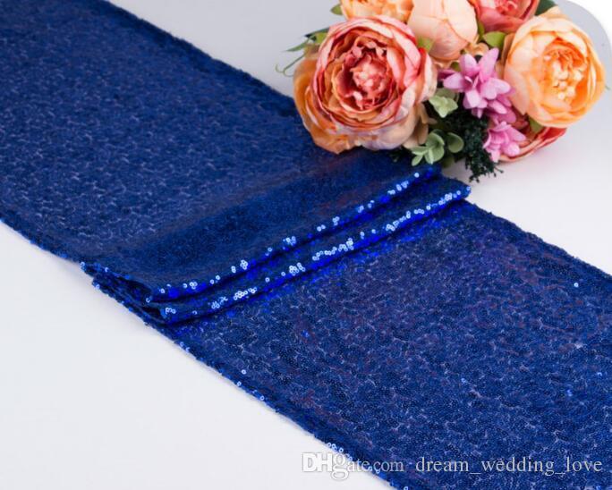 عالية الكثافة الترتر لون نقي الجدول العلم 28 * 275 سنتيمتر العديد من الألوان لاختيار الجدول القماش سباركلي بلينغ لحفل زفاف الديكور HK92