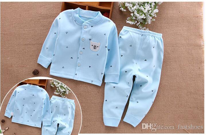 Can Özel En Kaliteli 2017 çocuk giyim Erkek ve Kız Uzun kollu bebek Tek parça takım 60-110 cm bebek Kırmızı Mavi 2 parça suit giysi