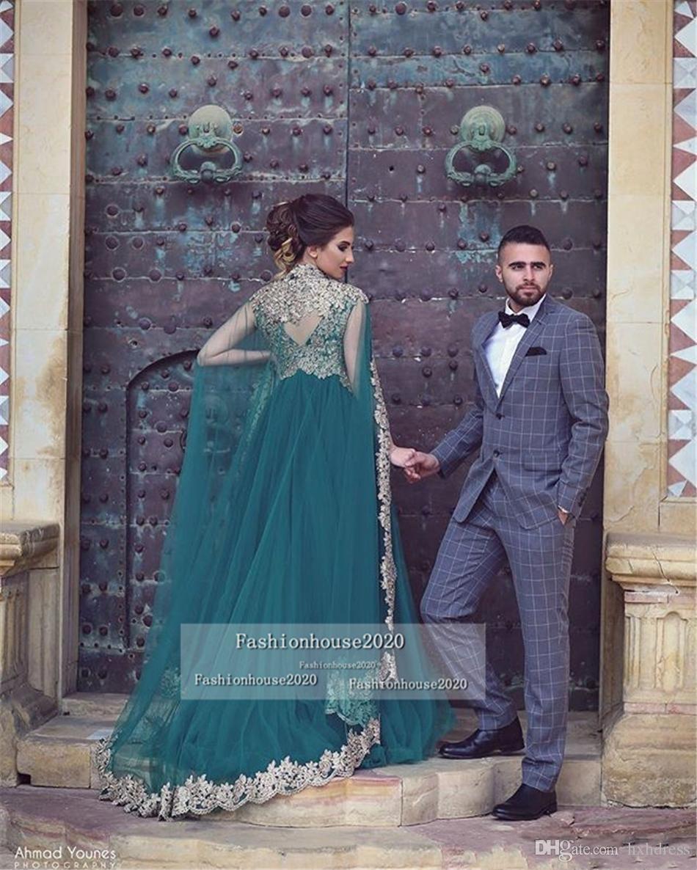 New Jägergrün arabische moslemische Abendkleider mit langen Ärmeln Applikationen Plus Size Dubai-Partei-Kleid Vestidos festa Zweiteilige formales Abendkleid