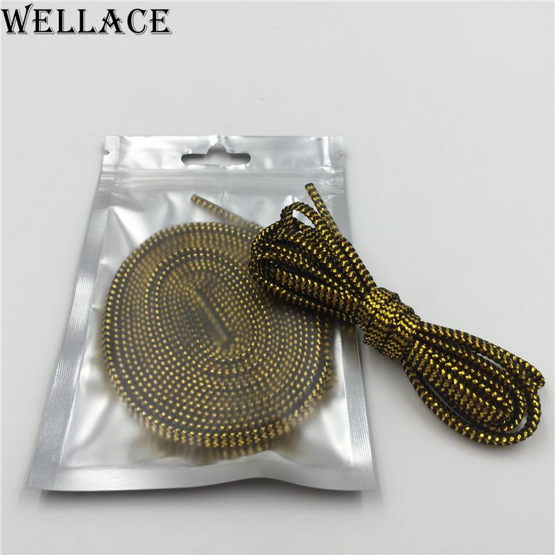 Wellace Sparkle flat Shiny Gold Shoe Laces Glitter Shoelace for Sports Canvas Sneaker athletic coolest shoelaces online