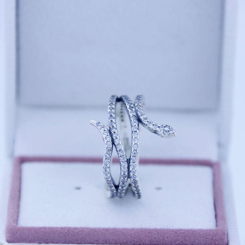 Acheter 925 Argent Sterling Bagues Serpent Bague En Argent Avec Zircone  Cubique Fit Pour Pandora Charms Bijoux Femmes DIY Mode Fingers Anneau 2016  ...