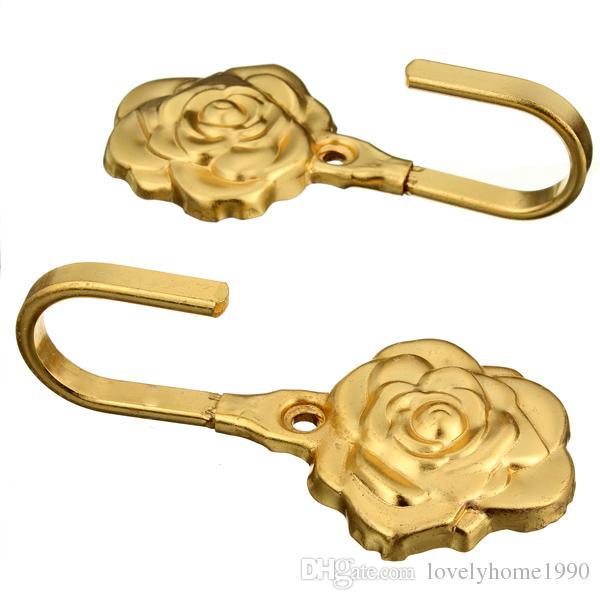 Decorativo Rose Leaves Parede Gancho Da Cortina Da Antiguidade Tie Backs Hardware Hanger