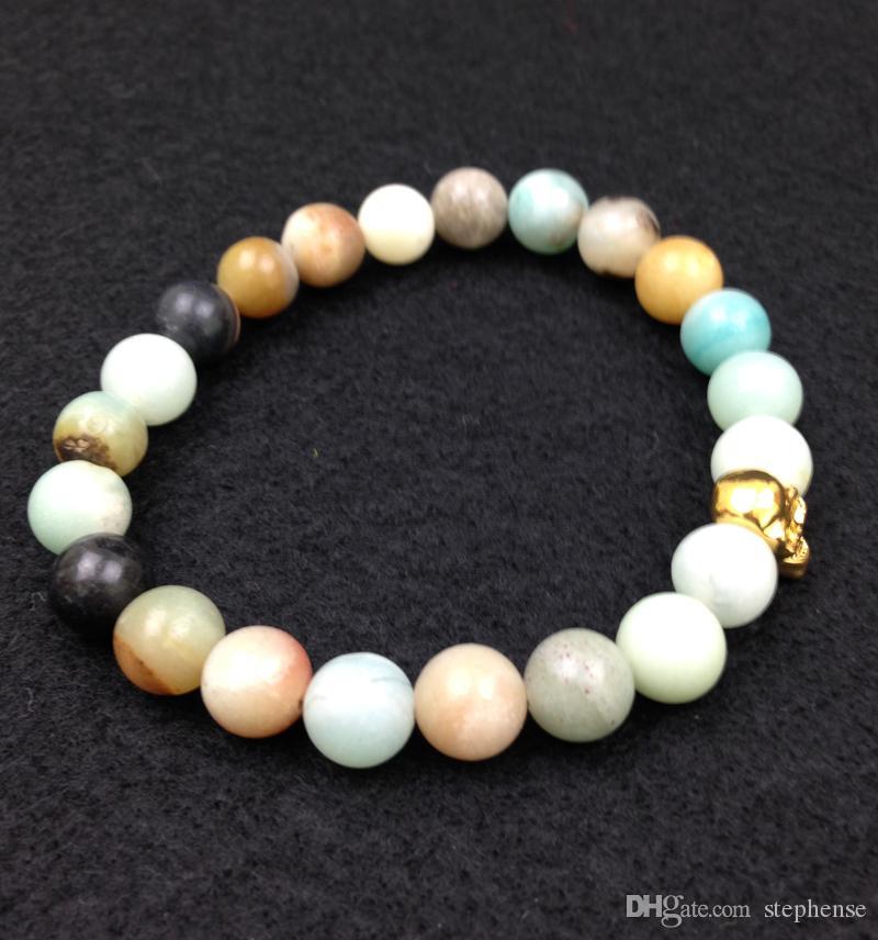 SN0551 Heißer Verkauf Schädel Bettelarmband Rose Gold 18 Karat Gold Rhodiniert armband Für Männer Amazonite Stein Stretch armband