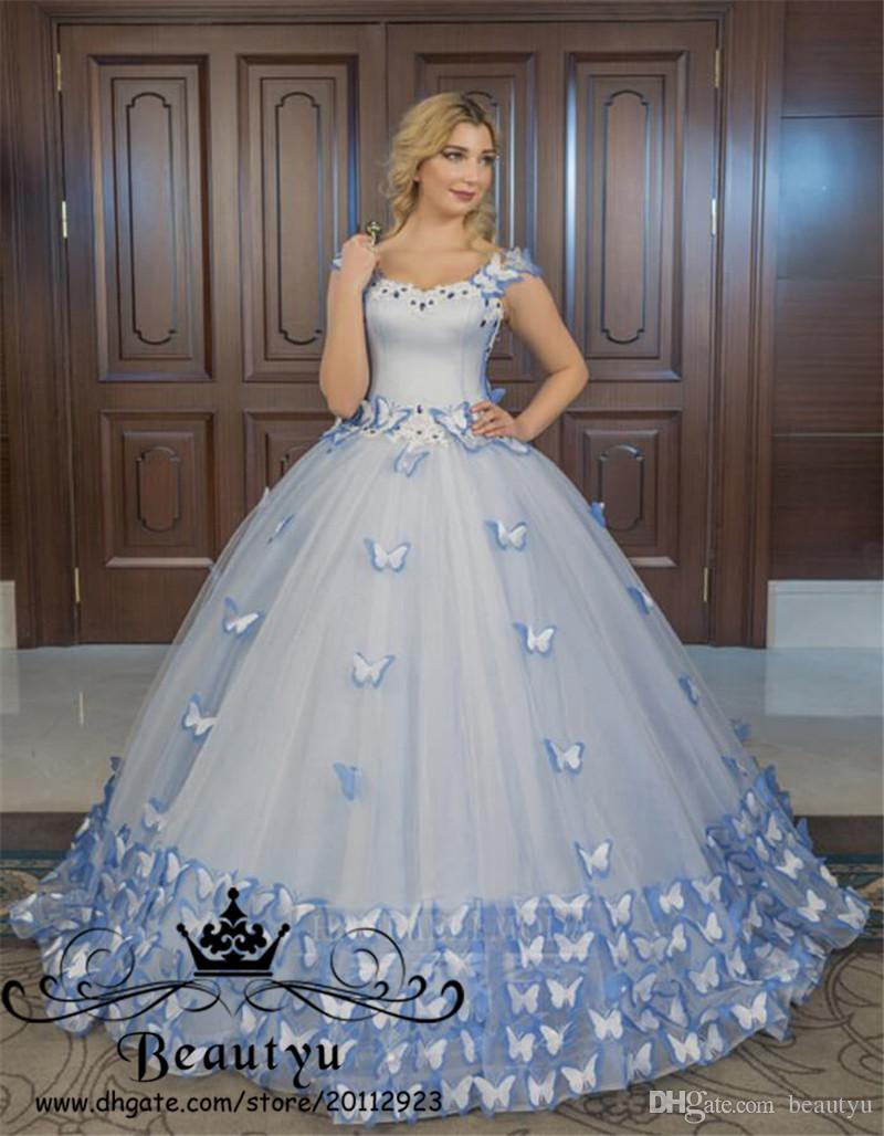 8fa3fdf8a2c Blue Butterfly Victorian Princess Quinceanera Dresses 2018 Plus Size Off  The Shoulder Lace Up Sweet 16 Dress Ball Gowns Prom Masquerade Wear Canada  2019 ...