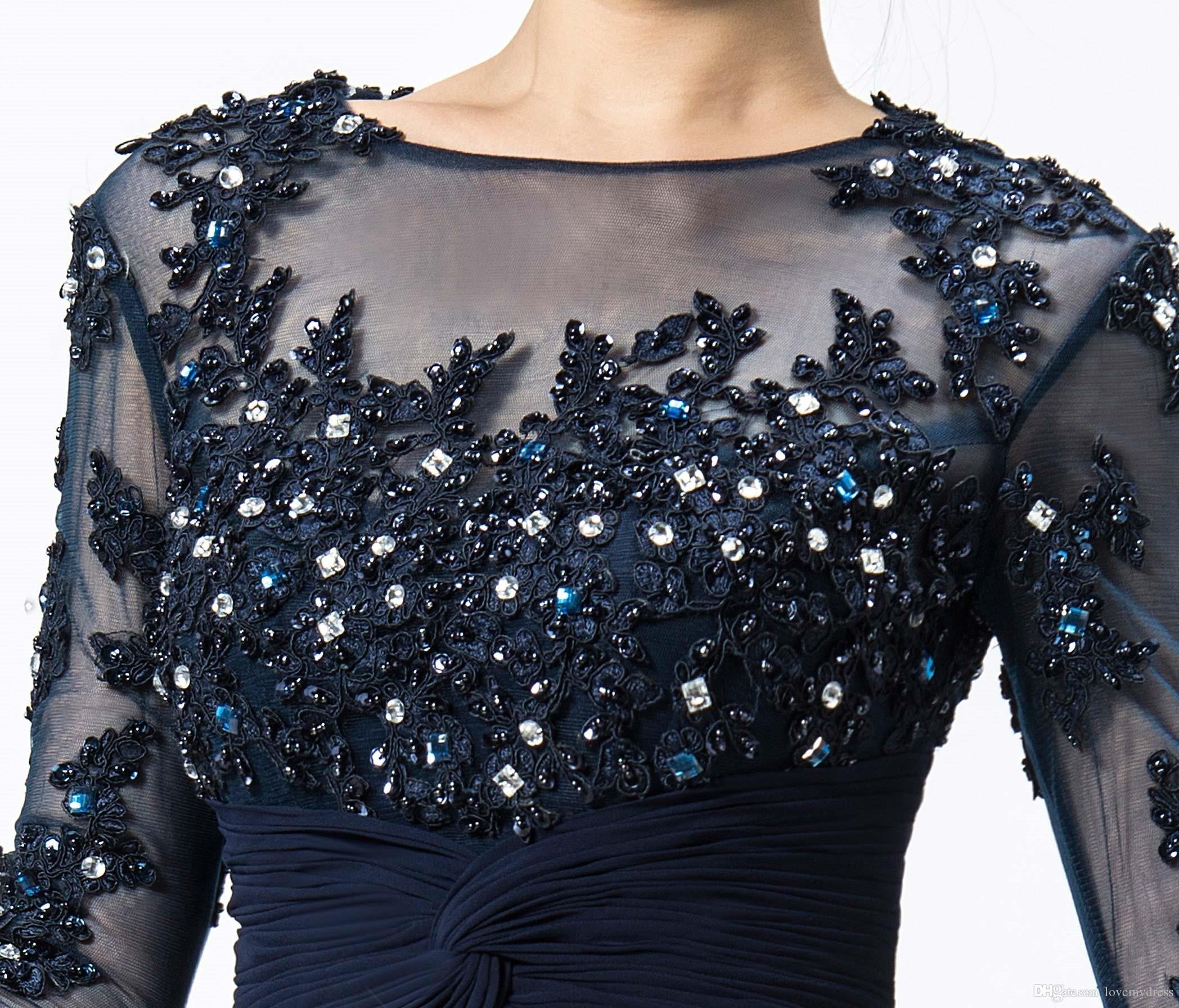 2021 Custom Chiffon Mother Dresses Party Långärmad Appliques Beading Sequin Bateau Neck Illsion Kristaller Chiffong Gown Golvlängd Sexig