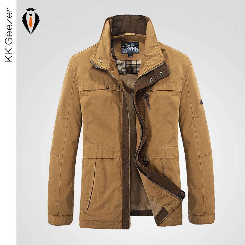 Men Cotton Light Jacket Coats Khaki Business Casual Men Autumn ...