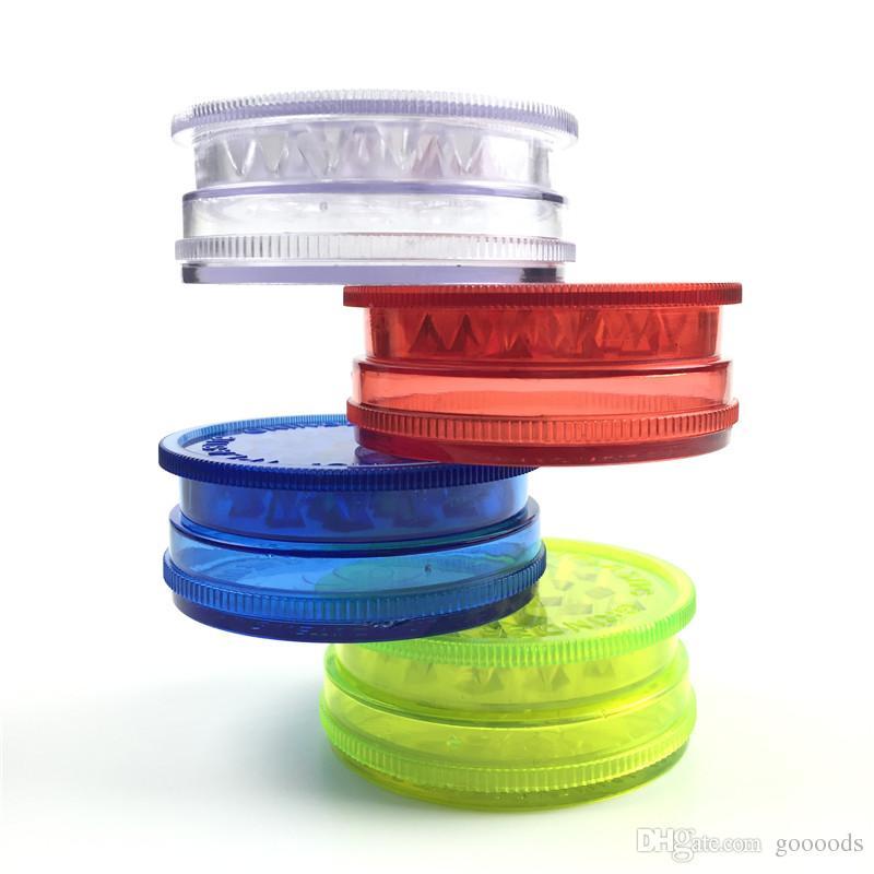 60mm 3 Stück bunten Kunststoff-Grinder für Rauchtabak Schleifer mit grün, rot, blau klar
