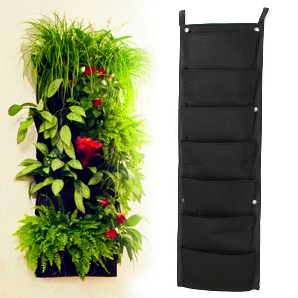 Exceptionnel Novelty 7 Pockets Vertical Garden Planter Wall Mounted Polyester Home  Gardening Flower Planting Bags Living Indoor Wall Planter