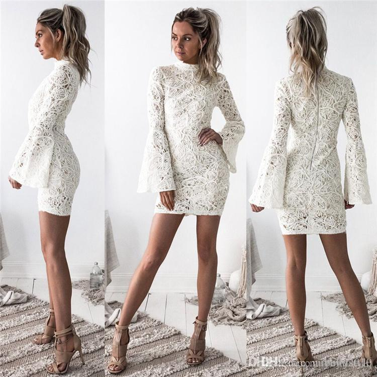70756aaead4 2017 Women Elegant Slim Lace Short Dresses Autumn Winter Long Sleeve Round  Neck Mini White Dress New Arrival MTL170811 Dress Style Formal Evening  Gowns From ...