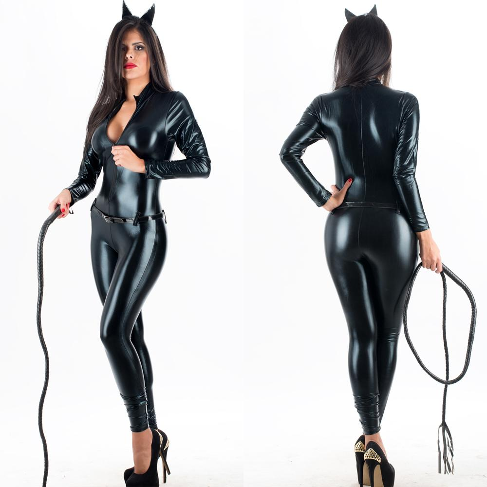 941f0a502b 2019 Top Quality Sexy Halloween Catwoman Costume Black Zip Front Vinyl  Catsuit Wet Look Latex Faux Leather Jumpsuit With Belt W207961 From  Xinmeigroup