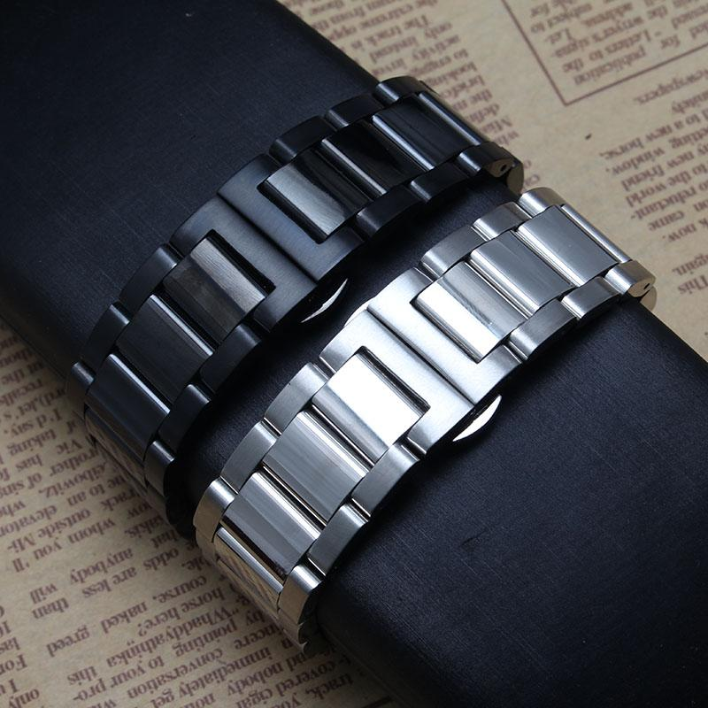 9e118f87228abc Replacement a new watchband stainless steel Metal Watch bracelet butterfly  buckle 18mm 20mm 22mm 24mm watchbands for men women's hours black