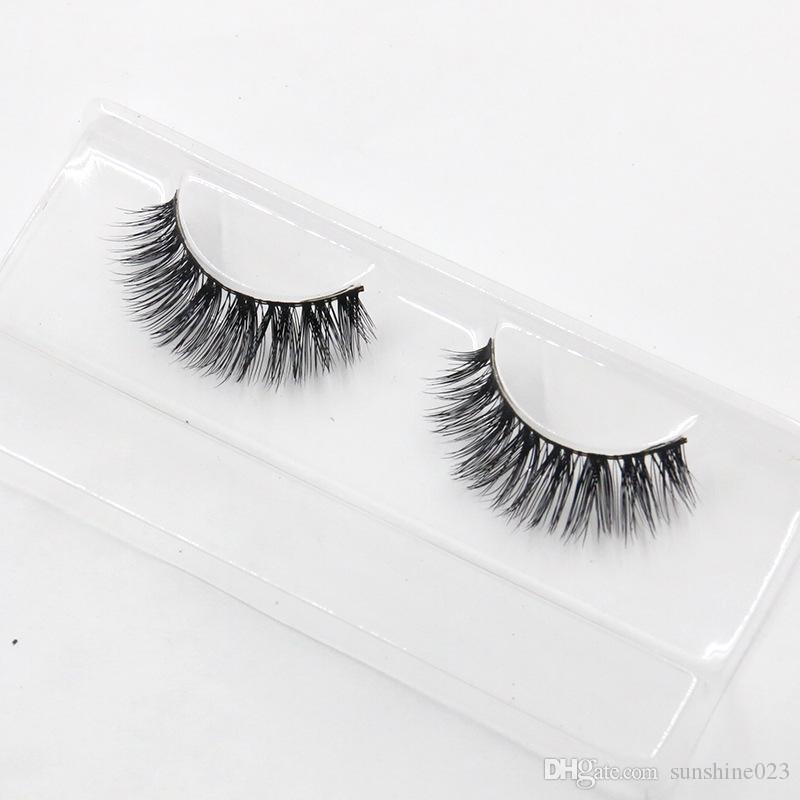 Venta caliente 1 Par 100% Mujer Dama Real Mink Negro Natural Grueso Falso Falso Pestañas Ojos Pestañas Maquillaje Herramientas de extensión