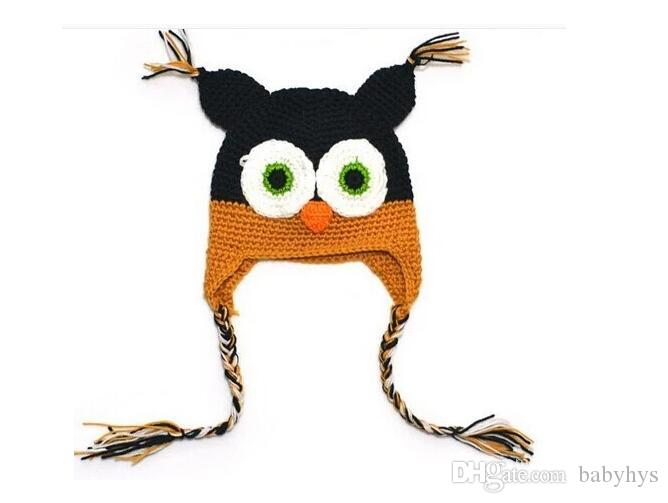 kids handmade cotton knitted hats yarn crochet hats in owl design with multi color for new born 0-3T