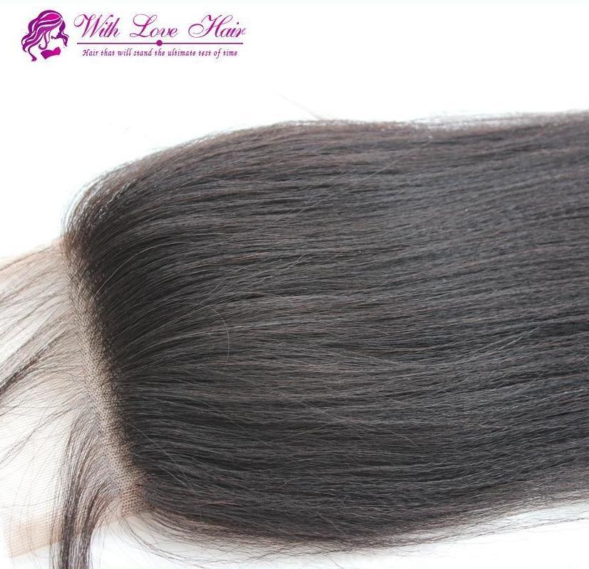 Yaki striaght 레이스 클로저 3.5x4 재고 있음 무료 parting 3 부분 Brazil hair hair closure