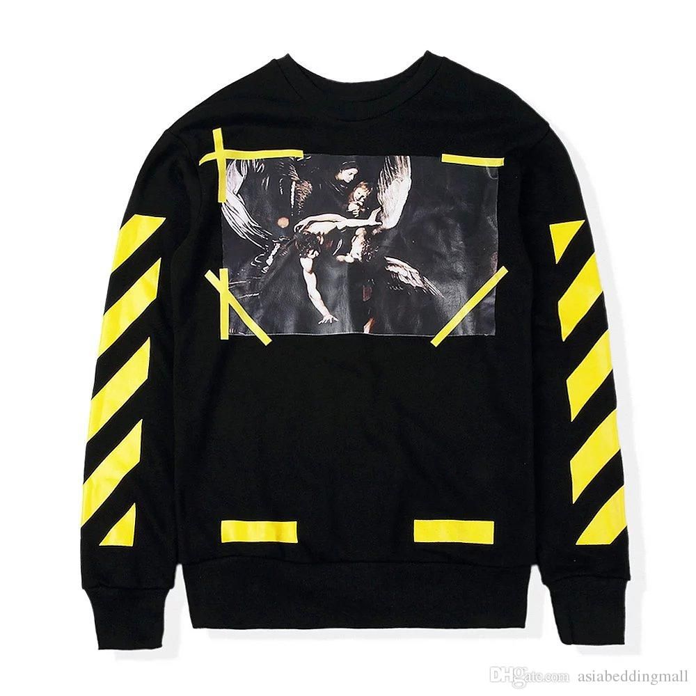 d5e64d8a0cbb 2016 Autumn Winter VIRGIL ABLOH Off White Hoodie Men Hiphop Casual Religion  Painting CARAVAGGIO Yellow Twill Crewneck Sweatshirt Online with   45.72 Piece on ...
