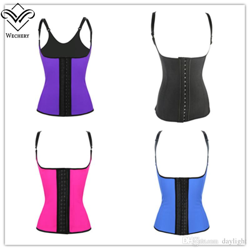 e3d047b56 2019 100% Latex Waist Cincher Corset With Adjustable Straps Black Underbust  Corsets Girdle Body Shapewear Strong Compression Waist Trainer Vest From ...