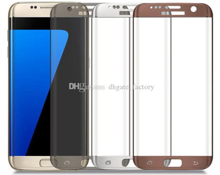 Samsung Galaxy S7 Edge Tempered Glass Screen Protector 9H 3D Curved Full Coverage 0.26mm With Wooden Package For Galaxy S6 Edge Plus