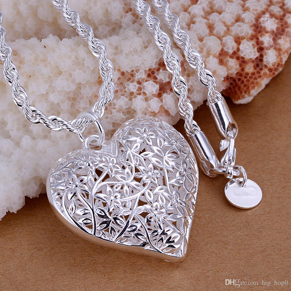 Frosted Silver Plated Flower Pattern Pendant Simple Hollow Heart-shaped Pendant 925 Sterling Silver Jewelry For Women Men