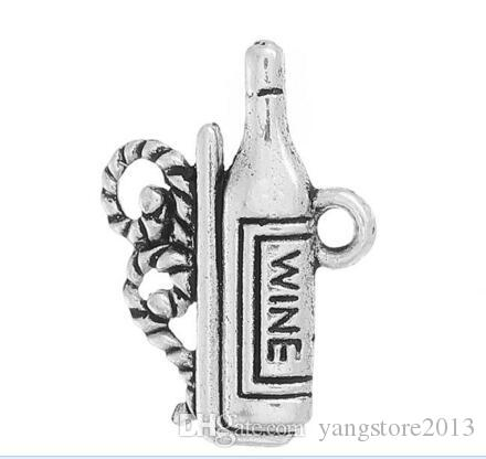 "New Charm Pendants Wine Bottle Antique Silver ""Wine"" Carved 19mm x 13mm,B35566"
