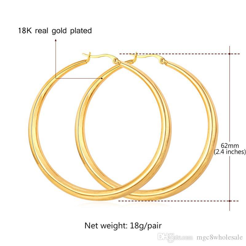 U7 Büyük Küpe Yeni Trendy Paslanmaz Çelik / 18 K Gerçek Altın Kaplama Moda Takı Yuvarlak Büyük Boy Hoop Küpe Kadınlar için