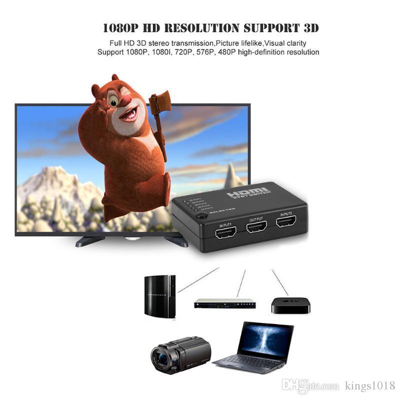 4K * 2K 5X1 HDMI-Splitter-Schalter 5 in 1 HDMI-Umschalter-Adapter mit Fernbedienung für XBOX 360 PS4 / 3 Android HDTV