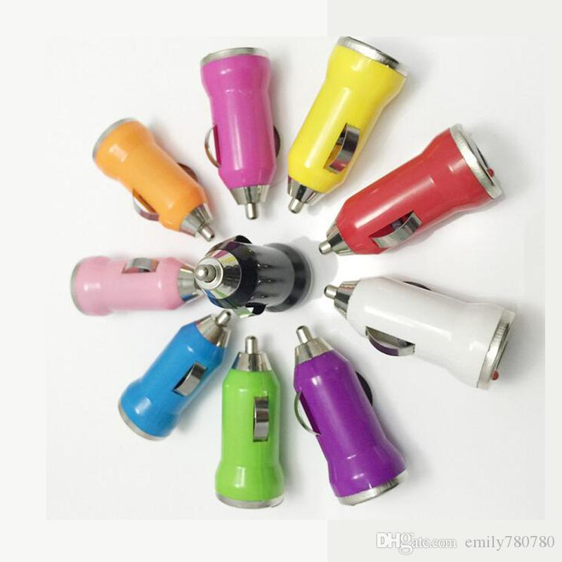 Mini USB Car Charger Universal USB Adapter Colorful Car Charger for cell phone samsung s3 s4 s5 DHL