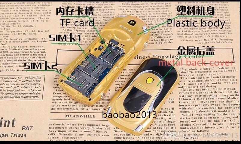 DHL Original newmind F3 unlocked bar phone dual sim mini Sports car model big ringtones bluetooth mobile cell cute phone MP3 MP4
