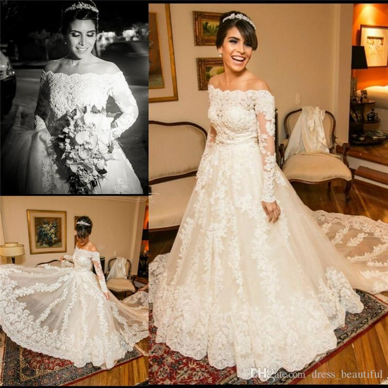 Discount 2016 Vintage Lace A Line Wedding Dresses Bateau: Discount Winter Plus Size Wedding Dresses Long Sleeves