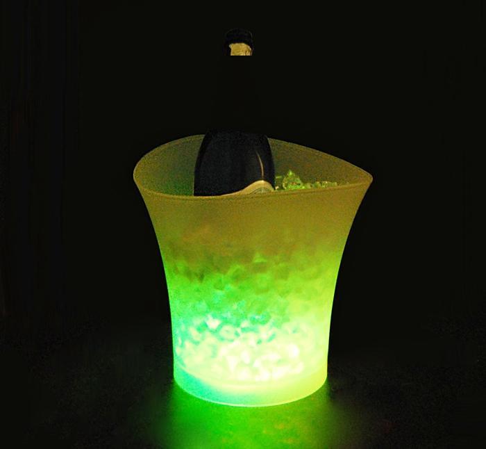 Unbreak 5 لتر حجم البلاستيك بقيادة دلو الثلج بارات الملاهي الليلية KTV LED ضوء دلو الثلج مبردات الشمبانيا النبيذ البيرة الجليد مبردات حامل
