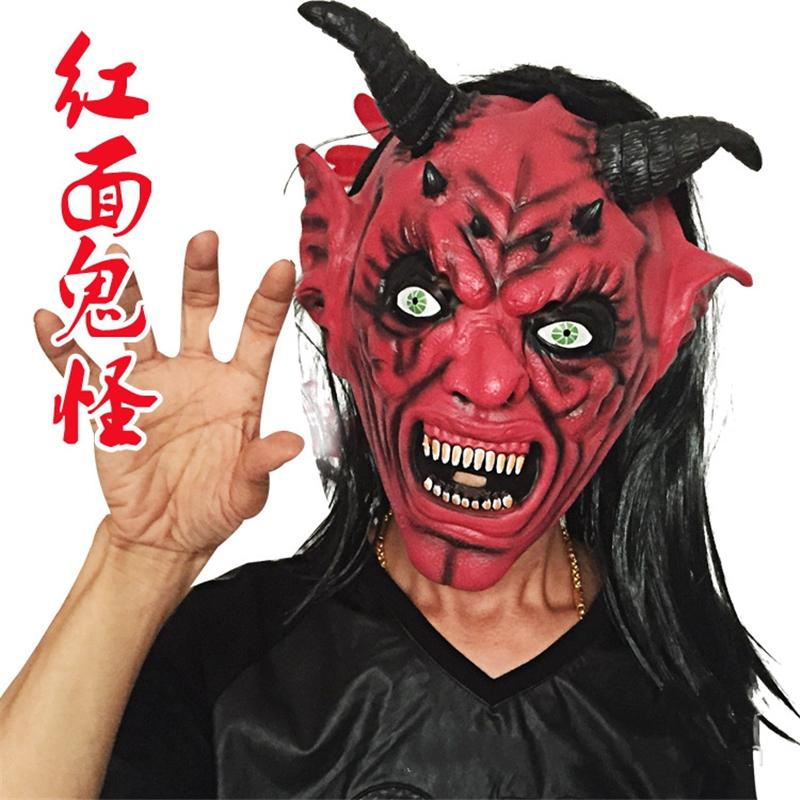 halloween mask masquerade for adult fashion mask black hair red faced devil mask scary long hair devil horns cosplay makeup party costume - Halloween Costumes With A Masquerade Mask