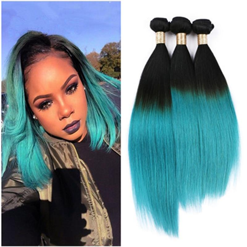 9a 1bgreen Ombre Hair Extensions Two Tone Color Ombre Brazilian