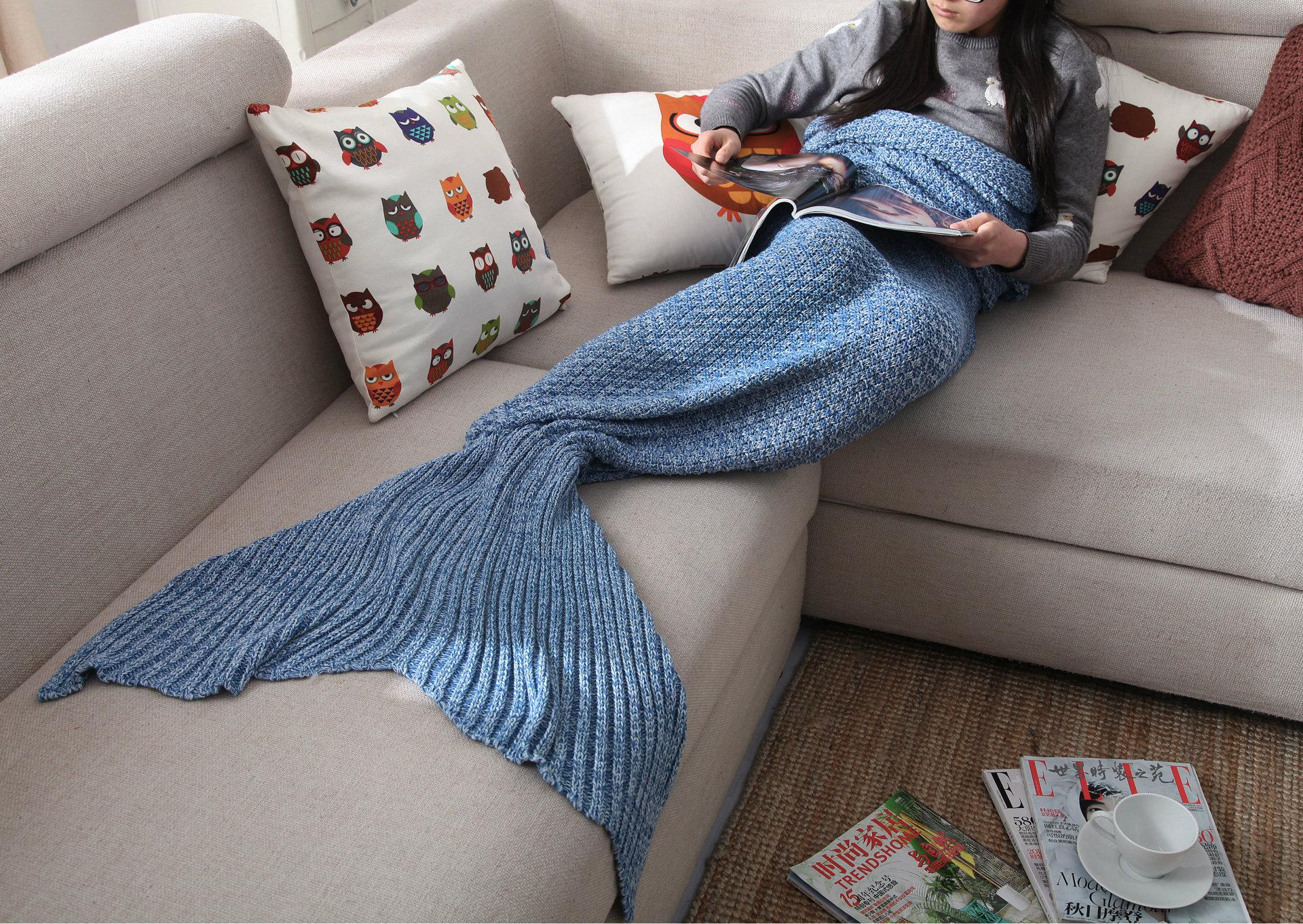 Mermaid Tail Blanket Cosplay Winter Warm Blankets Costume Handmade 80*190cm  60*130cm With 4 Colors 10pcs Free Shipping