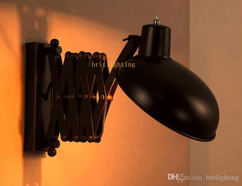 retractable wall sconce Black iron lamp Loft Vintage Telescopic Wall sconces extend arm light swing arm led wall sconce bedroom lamps