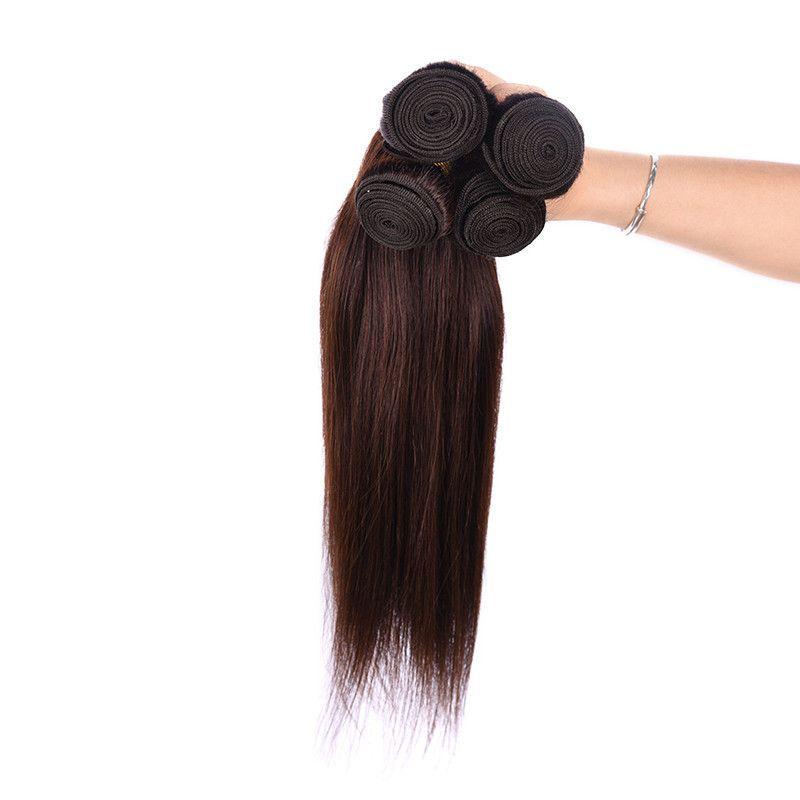 Grade 5A-60g/Pc Peruvian Hair Weave Dark Brown Color Bundles 100% Human Virgin Hair Silk Straight wave,Free DHL